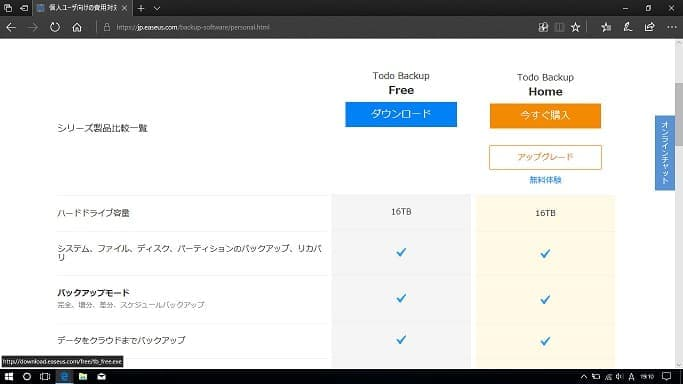 EaseUS Todo Backup FreeのWEBサイト画面